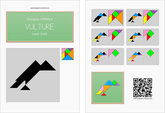 Tangram worksheet 91 : Vulture - This worksheet is available for free download at http://www.tangram-channel.com