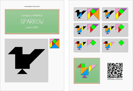 Tangram worksheet 198 : Sparrow - This worksheet is available for free download at http://www.tangram-channel.com