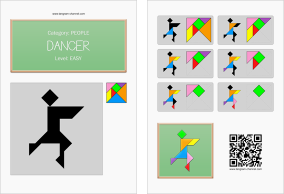 Tangram worksheet 209 : Dancer - This worksheet is available for free download at http://www.tangram-channel.com