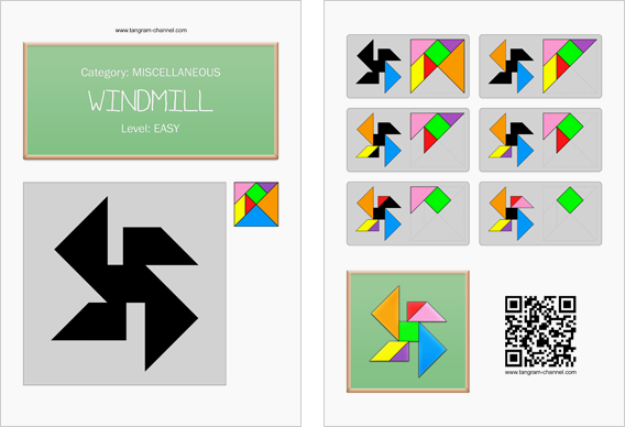 Tangram worksheet 207 : Windmill - This worksheet is available for free download at http://www.tangram-channel.com