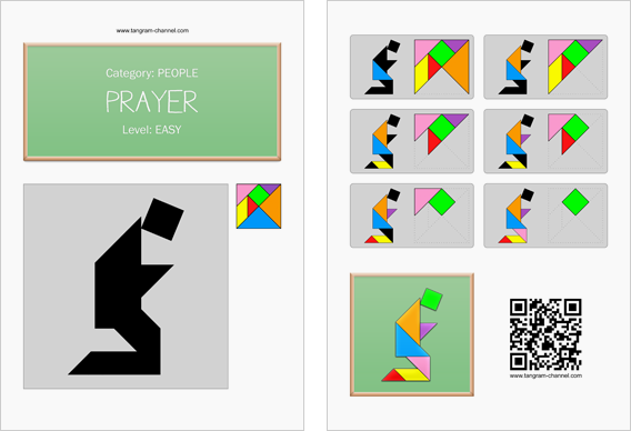 Tangram worksheet 65 : Prayer - This worksheet is available for free download at http://www.tangram-channel.com