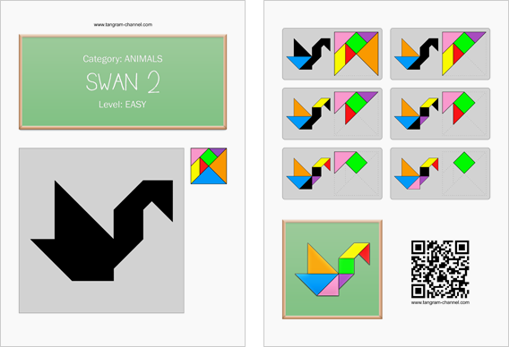 Tangram worksheet 98 : Swan 2 - This worksheet is available for free download at http://www.tangram-channel.com