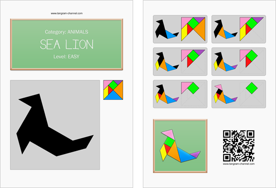 Tangram worksheet 63 : Sea lion - This worksheet is available for free download at http://www.tangram-channel.com