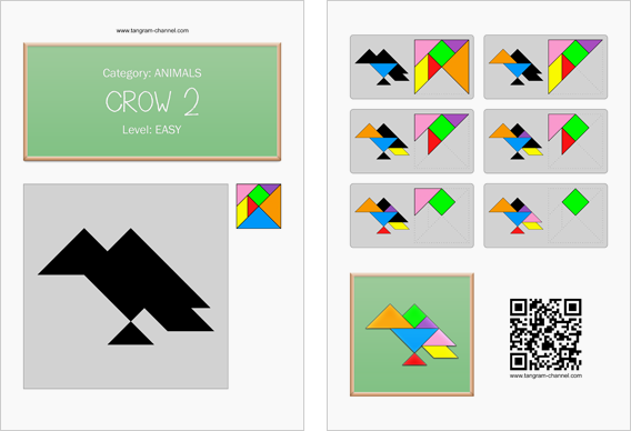 Tangram worksheet 216 : Crow 2 - This worksheet is available for free download at http://www.tangram-channel.com