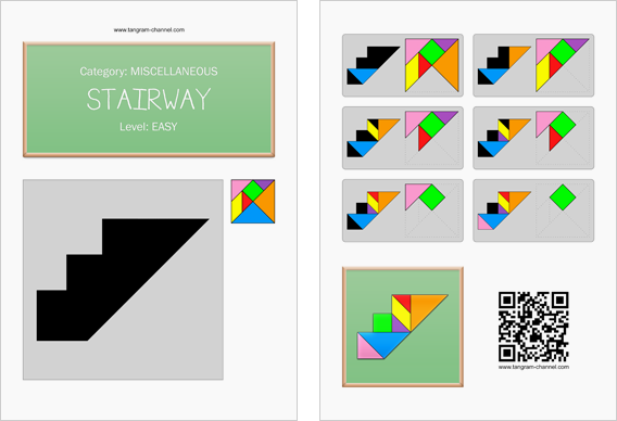 Tangram worksheet 231 : Stairway - This worksheet is available for free download at http://www.tangram-channel.com