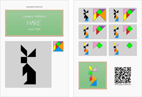 Tangram worksheet 210 : Hare - This worksheet is available for free download at http://www.tangram-channel.com
