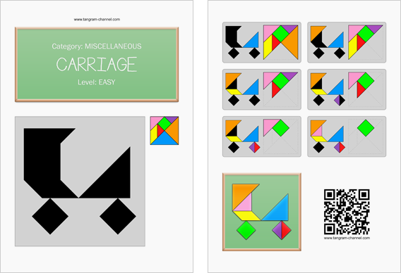 Tangram worksheet 178 : Carriage - This worksheet is available for free download at http://www.tangram-channel.com