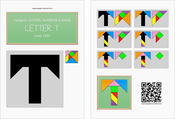 Tangram worksheet 127 : Letter T - This worksheet is available for free download at http://www.tangram-channel.com