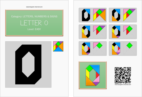 Tangram worksheet 126 : Letter O - This worksheet is available for free download at http://www.tangram-channel.com
