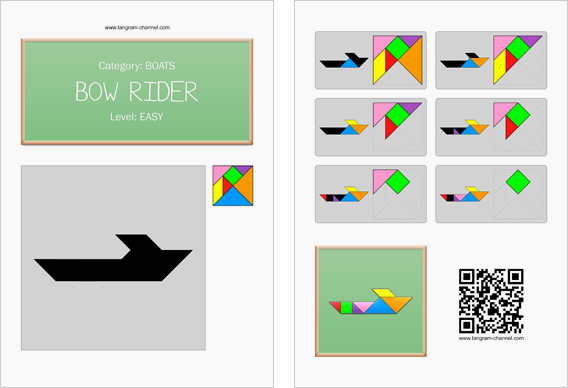 Tangram worksheet 104 : Bow rider - This worksheet is available for free download at http://www.tangram-channel.com