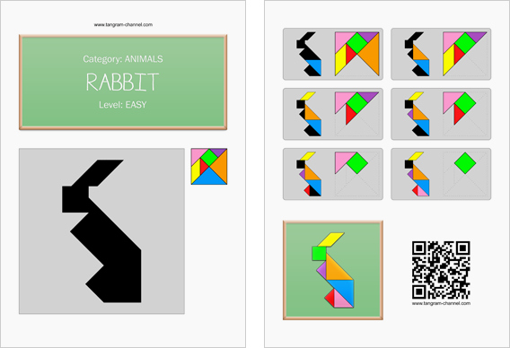Tangram worksheet 2 : Rabbit - This worksheet is available for free download at http://www.tangram-channel.com