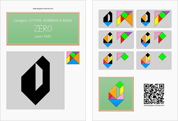 Tangram worksheet 106 : Zero - This worksheet is available for free download at http://www.tangram-channel.com