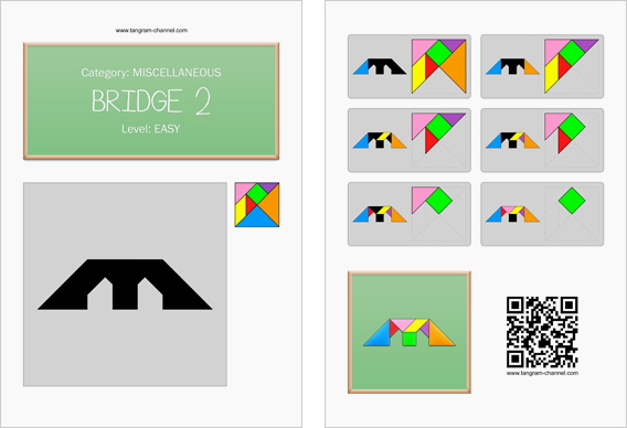 Tangram worksheet 34 : Bridge 2 - This worksheet is available for free download at http://www.tangram-channel.com