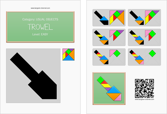 Tangram worksheet 229 : Trowel - This worksheet is available for free download at http://www.tangram-channel.com