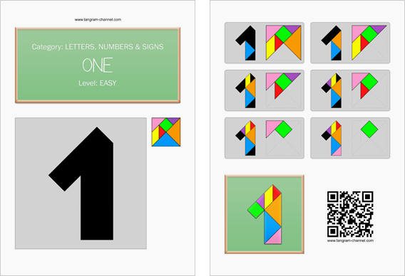 Tangram worksheet 81 : One - This worksheet is available for free download at http://www.tangram-channel.com