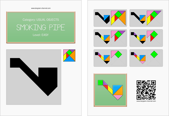 Tangram worksheet 99 : Smoking pipe - This worksheet is available for free download at http://www.tangram-channel.com