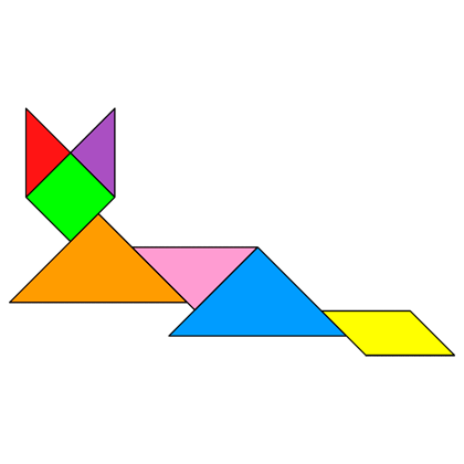Tangram Cat lying - Tangram solution #9 - Providing teachers and ...