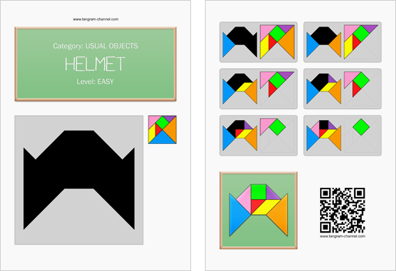 Tangram worksheet 205 : Helmet - This worksheet is available for free download at http://www.tangram-channel.com