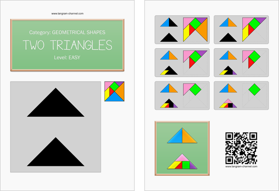 Tangram worksheet 46 : Two triangles - This worksheet is available for free download at http://www.tangram-channel.com