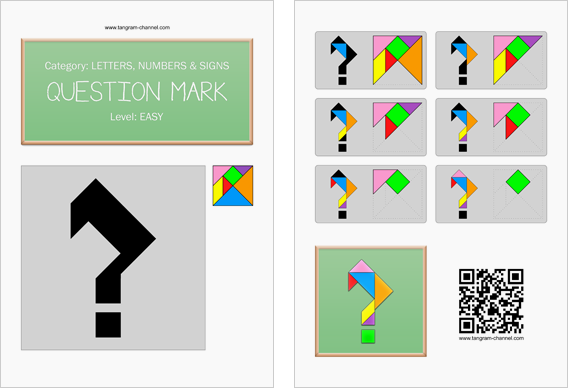 Tangram worksheet 130 : Question mark - This worksheet is available for free download at http://www.tangram-channel.com