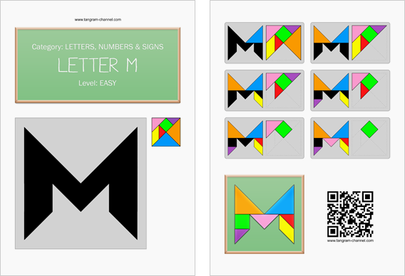 Tangram worksheet 123 : Letter M - This worksheet is available for free download at http://www.tangram-channel.com
