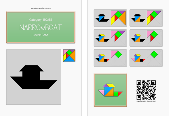 Tangram worksheet 254 : Narrowboat - This worksheet is available for free download at http://www.tangram-channel.com