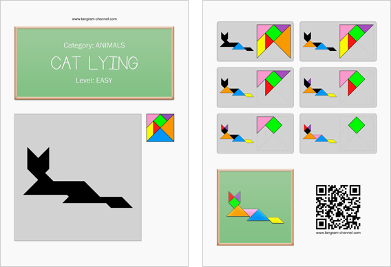Tangram worksheet 9 : Cat lying - This worksheet is available for free download at http://www.tangram-channel.com