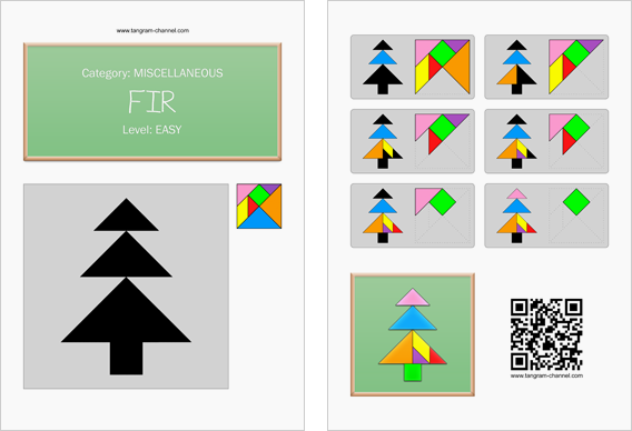 Tangram worksheet 41 : Fir - This worksheet is available for free download at http://www.tangram-channel.com