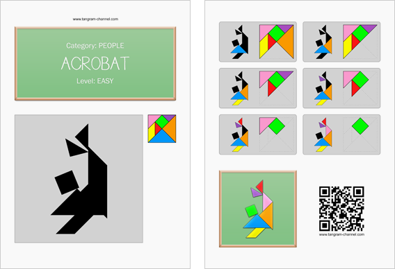 Tangram worksheet 215 : Acrobat - This worksheet is available for free download at http://www.tangram-channel.com