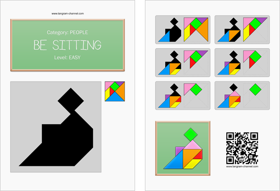 Tangram worksheet 29 : Be sitting - This worksheet is available for free download at http://www.tangram-channel.com