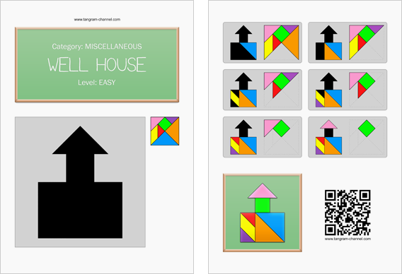 Tangram worksheet 83 : Well house - This worksheet is available for free download at http://www.tangram-channel.com