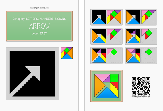 Tangram worksheet 5 : Arrow - This worksheet is available for free download at http://www.tangram-channel.com