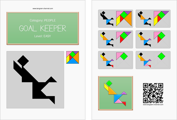 Tangram worksheet 36 : Goal keeper - This worksheet is available for free download at http://www.tangram-channel.com