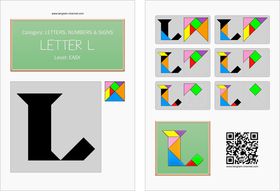 Tangram worksheet 62 : Letter L - This worksheet is available for free download at http://www.tangram-channel.com