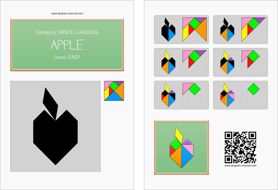 Tangram worksheet 167 : Apple - This worksheet is available for free download at http://www.tangram-channel.com