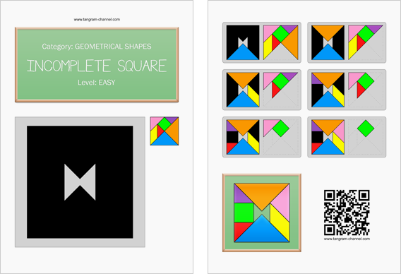 Tangram worksheet 32 : Incomplete square - This worksheet is available for free download at http://www.tangram-channel.com