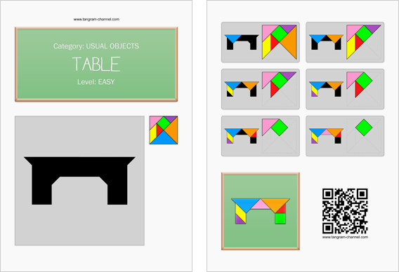 Tangram worksheet 1 : Table - This worksheet is available for free download at http://www.tangram-channel.com