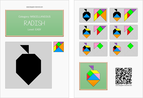 Tangram worksheet 219 : Radish - This worksheet is available for free download at http://www.tangram-channel.com