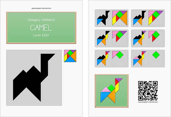 Tangram worksheet 37 : Camel - This worksheet is available for free download at http://www.tangram-channel.com