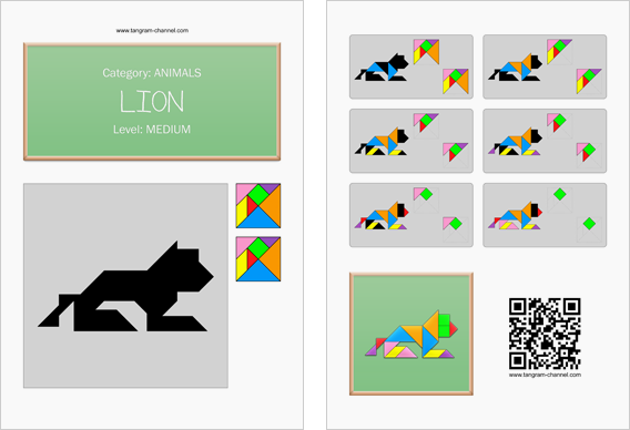 Tangram worksheet 102 : Lion - This worksheet is available for free download at http://www.tangram-channel.com