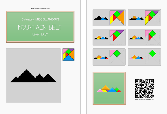 Tangram worksheet 195 : Mountain belt - This worksheet is available for free download at http://www.tangram-channel.com