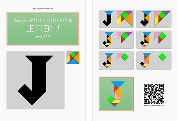 Tangram worksheet 122 : Letter J - This worksheet is available for free download at http://www.tangram-channel.com