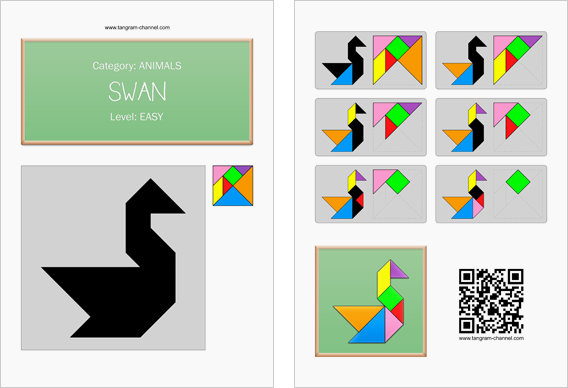 Tangram worksheet 16 : Swan - This worksheet is available for free download at http://www.tangram-channel.com