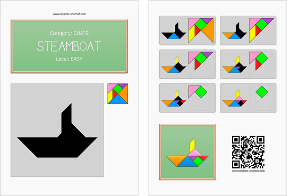 Tangram worksheet 80 : Steamboat - This worksheet is available for free download at http://www.tangram-channel.com
