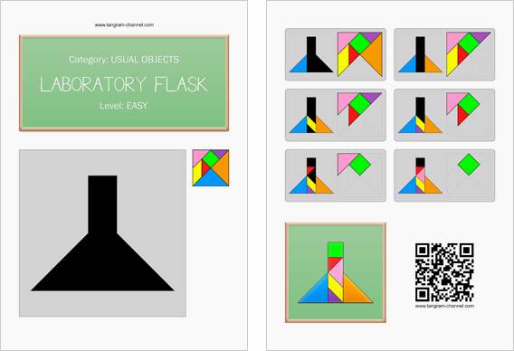 Tangram worksheet 199 : Laboratory flask - This worksheet is available for free download at http://www.tangram-channel.com