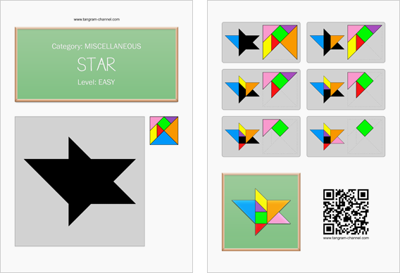 Tangram worksheet 213 : Star - This worksheet is available for free download at http://www.tangram-channel.com