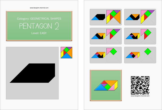 Tangram worksheet 214 : Pentagon 2 - This worksheet is available for free download at http://www.tangram-channel.com