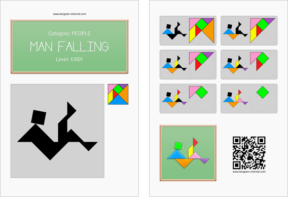 Tangram worksheet 157 : Man falling - This worksheet is available for free download at http://www.tangram-channel.com