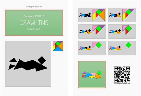 Tangram worksheet 239 : Crawling - This worksheet is available for free download at http://www.tangram-channel.com