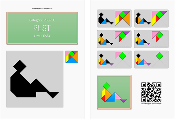 Tangram worksheet 49 : Rest - This worksheet is available for free download at http://www.tangram-channel.com